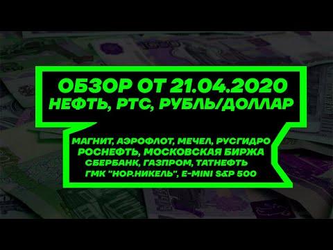 Обзор от 21.04. Нефть, РТС, Доллар/Рубль. Акции Сбербанк, Газпром, Татнефть, Роснефть, Аэрофлот и др