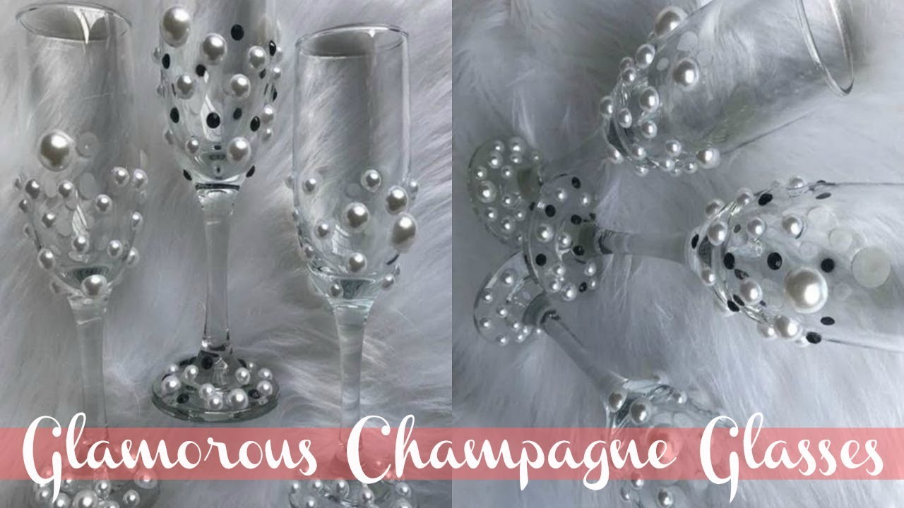 Diy Dollar Tree Champagne Glasses Elegant Wedding Glasses Youtube