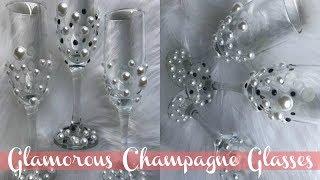 DIY Dollar Tree Champagne Glasses   Elegant Wedding Glasses
