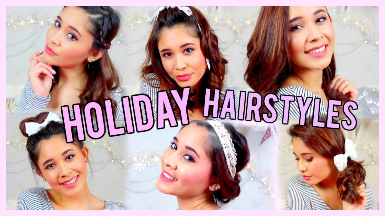 6 Easy Holiday Hairstyles For Short Hair Youtube