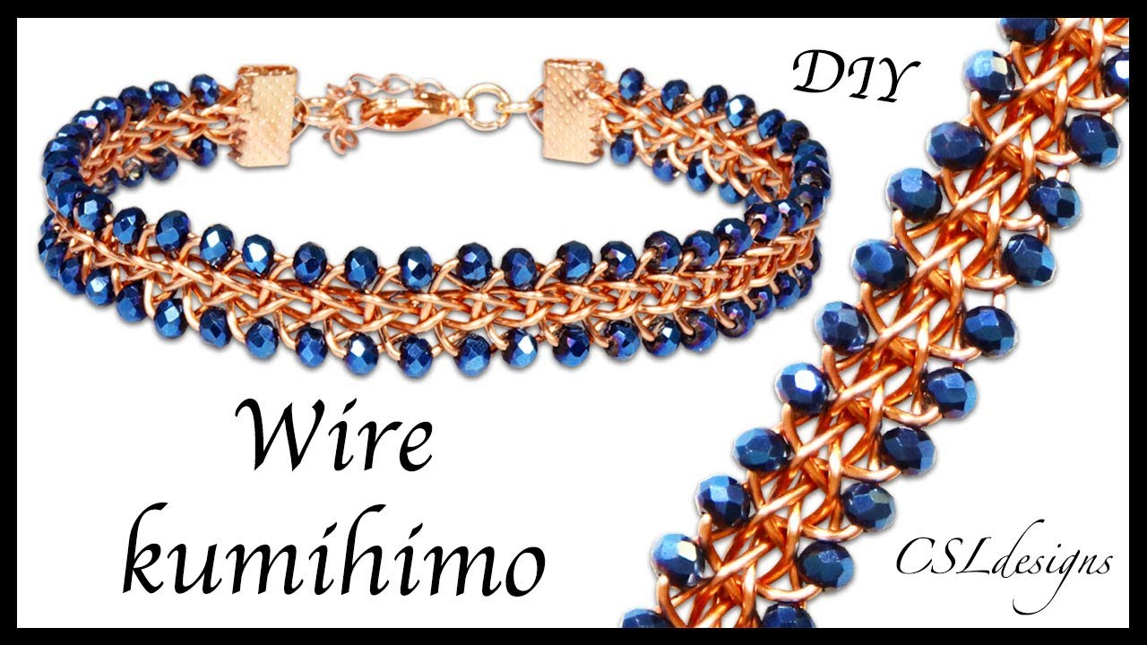 Beaded half round wire kumihimo bracelet - YouTube