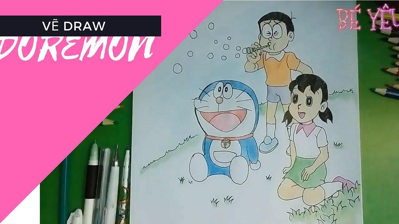 cách vẽ tranh và tô màu doremon nobita xuka dễ thương cho bé yêu