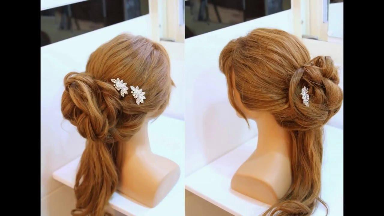 Tuto coiffure demi chignon fleur coiffure glamour youtube - Demi queue chignon ...
