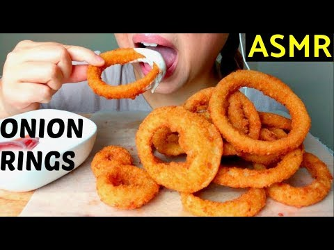 *No Talking* ASMR Crunchy Fried Onion Rings 먹방 Eating Sounds