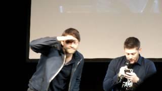 Jensen Ackles reading the script of