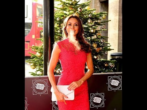Melanie Sykes, 47 braves the cold in a chic red lace dress