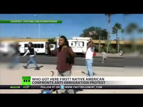 """Native American confronts """"anti-illegal immigration"""" protest"""