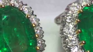 TIFFANY FINE NATURAL EMERALD EARRINGS ON 18KT GOLD