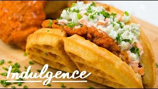 Learn to Make a Buffalo Chicken Waffle Sandwich That's Insane and Delicious