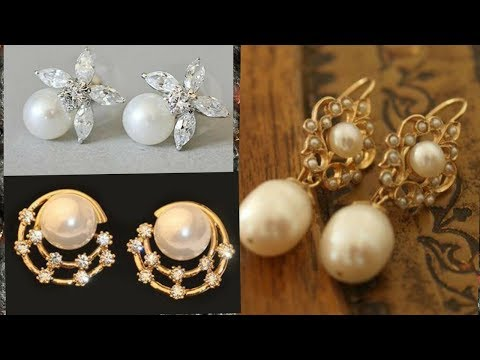 Top 30 Light weight Pearl and Gold Earring Design