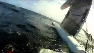 A-Class Catamaran capsize while starting tack - Broken boat