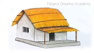 how to draw kutcha house