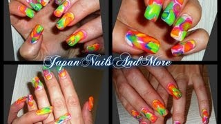 Tie Dye with Gel Colors Nail Design