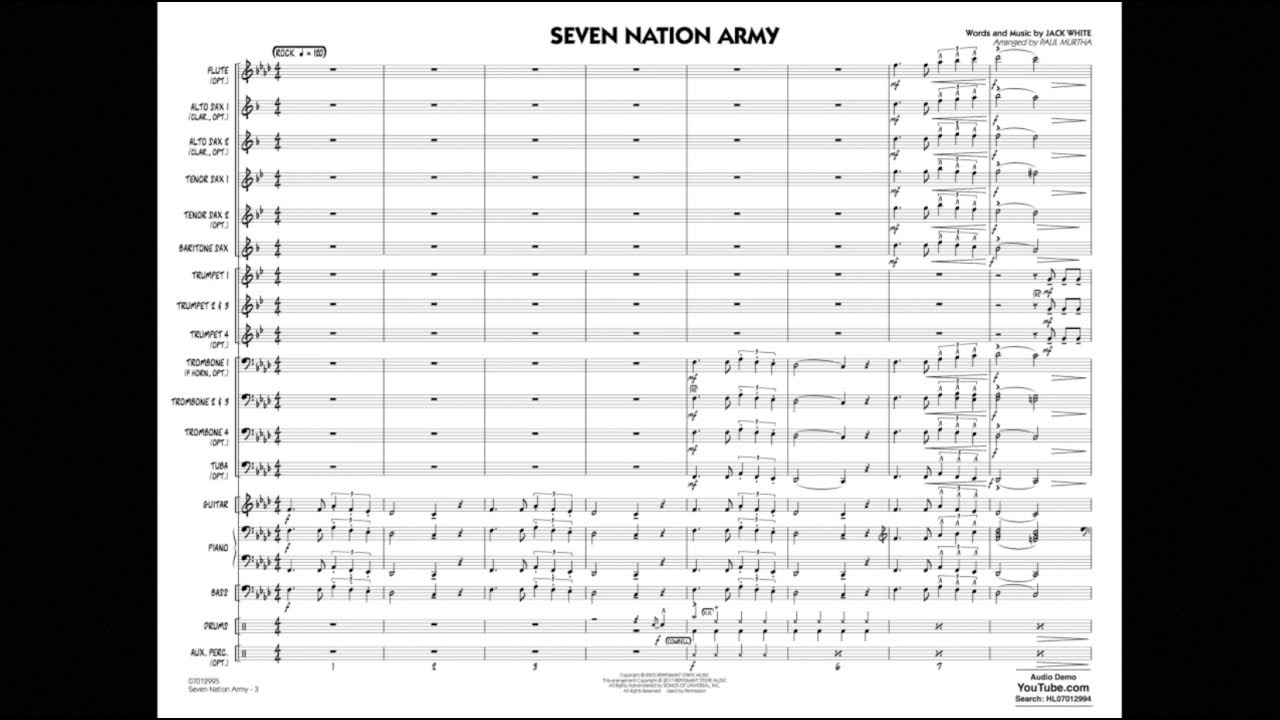 Seven Nation Army - Bb Clarinet 1 atStanton's Sheet Music