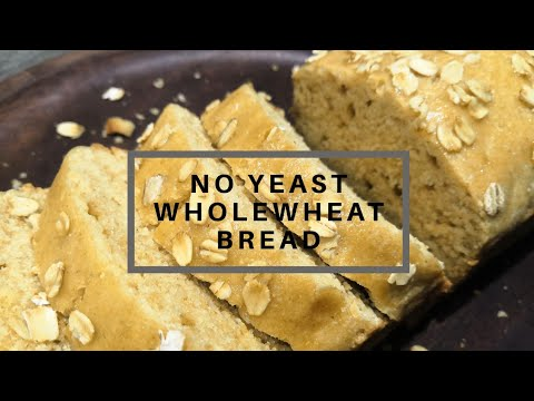 Wholewheat Bread Without Yeast | Brown Bread Recipe | No Knead Eggless Atta Bread