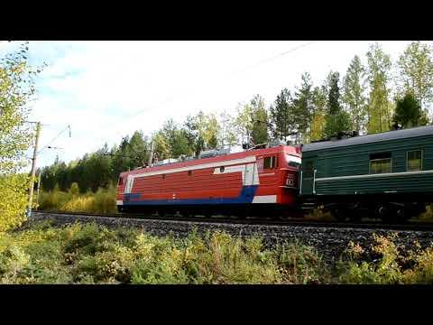 Электровоз ЭП1-202 с поездом Иркутск - Усть-Илимск