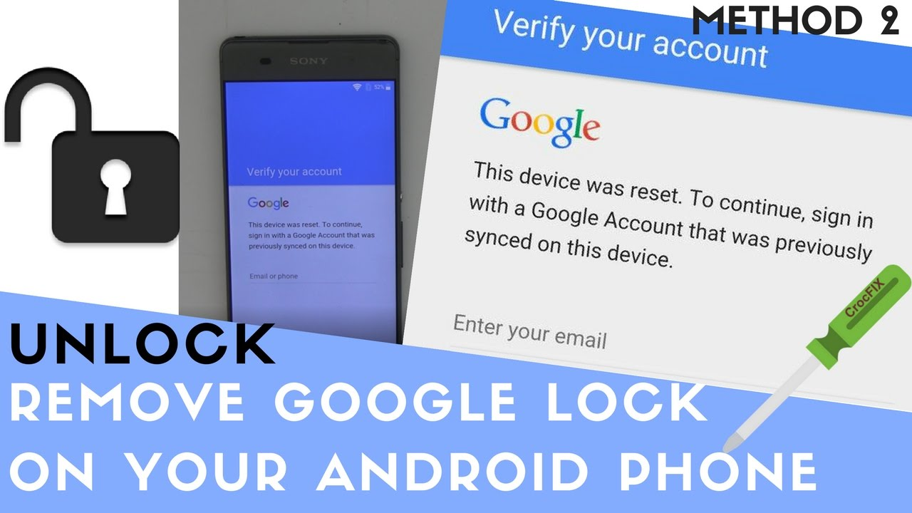 Remove and UNLOCK GOOGLE account password on Android phone - Method 2 -  CrocFIX