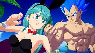 Dragon Ball FighterZ - Bikini & Bunny Bulma Vs Vegeta Gameplay (Costumes Mods)