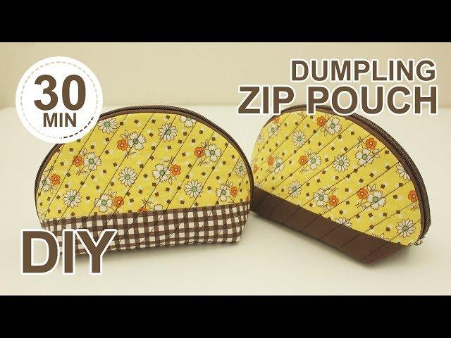 DIY Dumpling Zip Pouch | 조개 파우치 만들기 | How to sew zipper pouch - ladies purse making sewingtimes