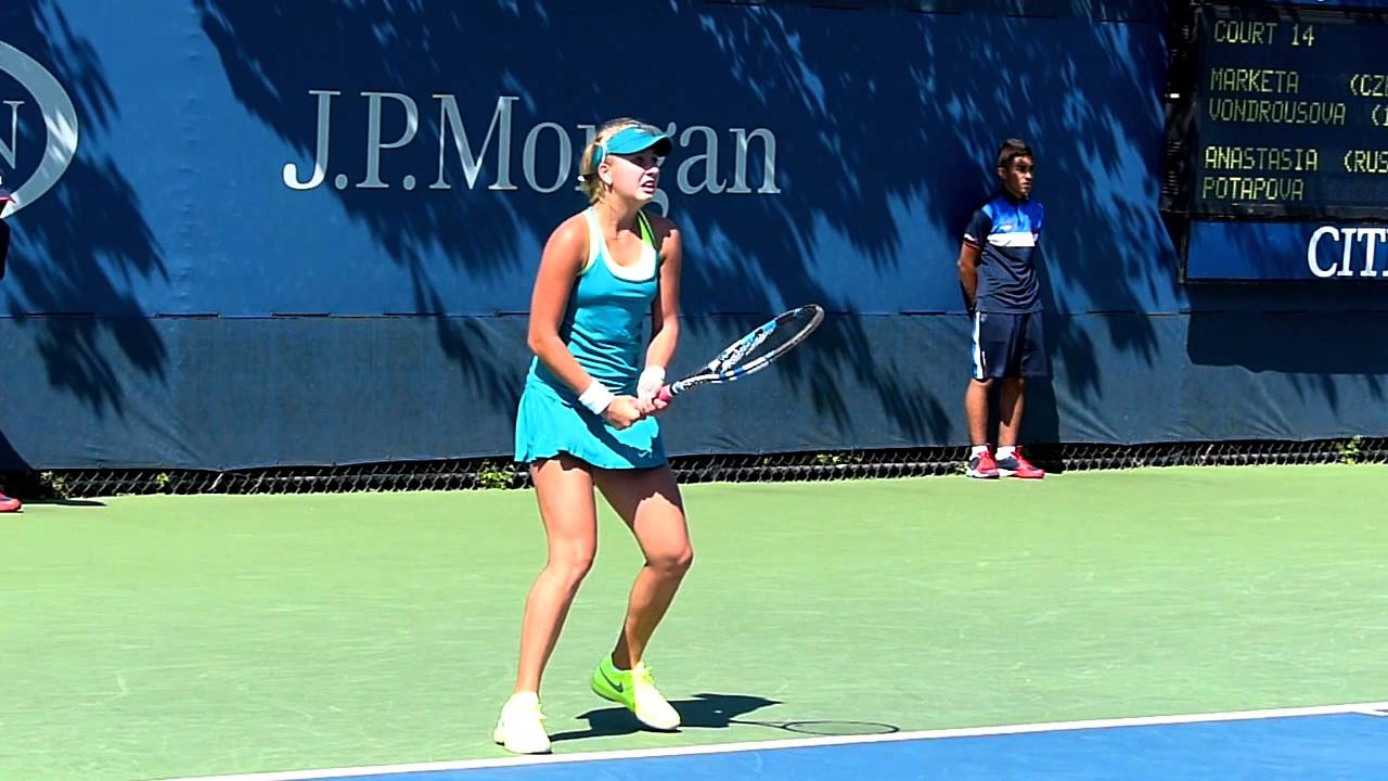a337c9499611 Anastasia Potapova - Us open juniors 2015 - slow motion video - YouTube