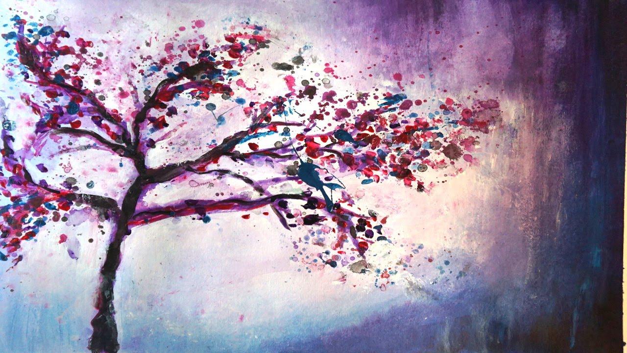 "Abstrakte Acrylmalerei Demo ""Zauberbaum"" - Abstract ..."