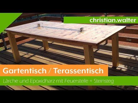Gartentisch / Terassentisch aus Lärche und Epoxidharzüberzug selber bauen