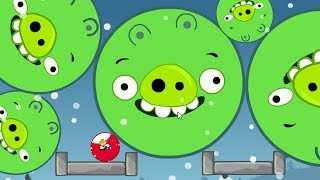 Angry Birds Kick Out Green Piggies - TINY ROUND BIRDS TRANSFORM TO BIG! KICKING OUT ALL PIGS!