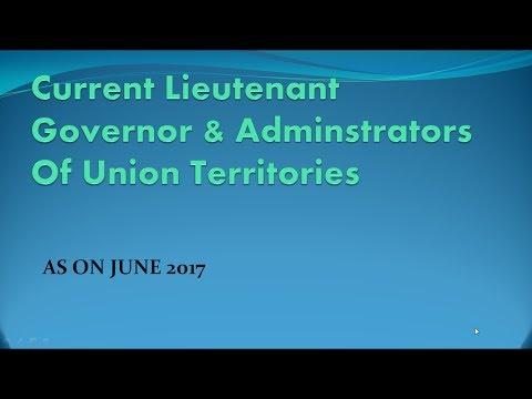 current lieutenant Governors & Adminsitrators of union territories