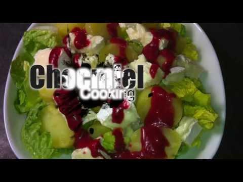 salade-de-pommes-de-terre-camembert-et-sauce-à-la-framboise