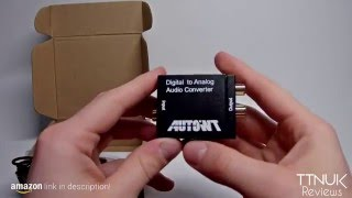 AutoWT Digital Optical Coaxial Toslink Signal to Analog Audio Converter RCA L/R output