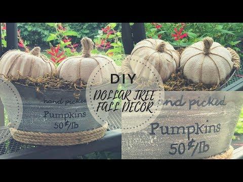 DIY DOLLAR TREE FALL DECOR|PUMPKIN MAKEOVER|FARMHOUSE
