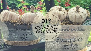 DIY DOLLAR TREE FALL DECOR|PUMPKIN MAKEOVER|FARMHOUSE