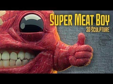 3d Pikachu Wallpaper Super Meat Boy 3d Sculpture Timelapse Youtube