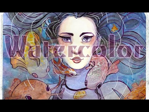 【Watercolor】- Swimming with Fish