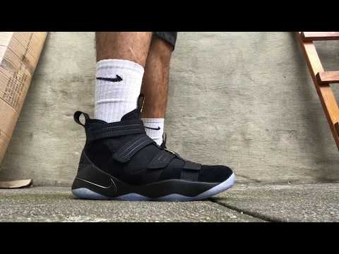 lebron-soldier-xi-black/gold-on-feet-review