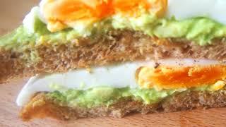 Вкусный, полезный завтрак - Бутерброды с авокадо и яйцом (без масло) /Рецепты правильного питания