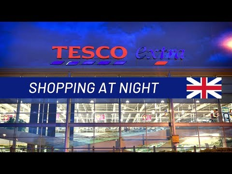 Shopping In A London TESCO Superstore At Night