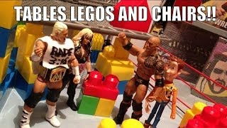 GTS WRESTLING: Lego cage match! WWE action figure matches animation! Mattel Elites!