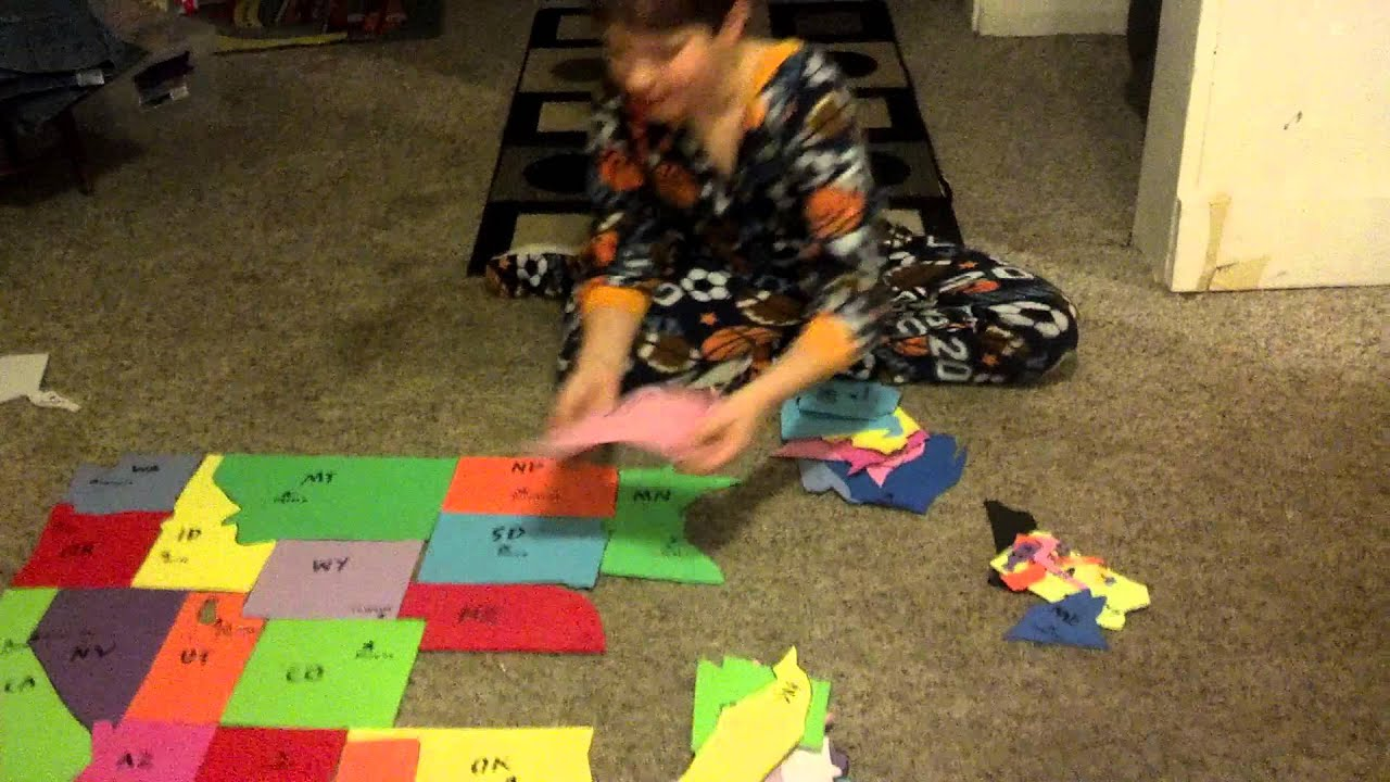 Dylan Videos Homemade USA Puzzle YouTube - Map usa states drag and drop
