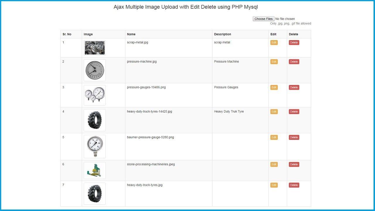 Ajax Multiple Image Upload with Edit Delete using PHP Mysql