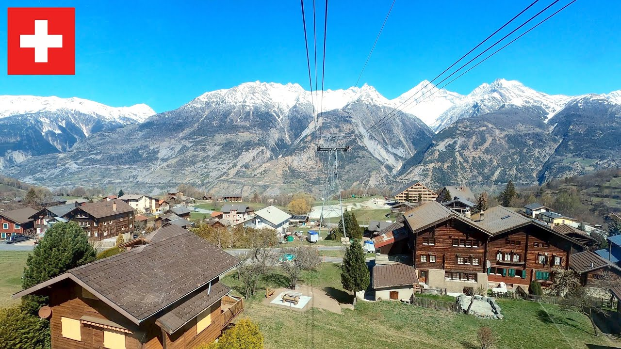 ★ 4K 🇨🇭Unterbäch - Raron cable car ride [04.2021] Wallis, Switzerland