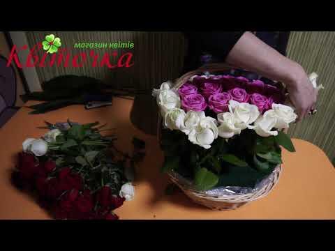 101 роза Сердце: оригинальный букет роз в корзине