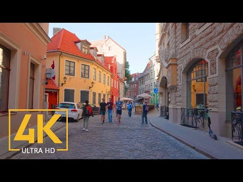 Streets of Riga, Latvia - 4K City Walking Tour with City Sounds
