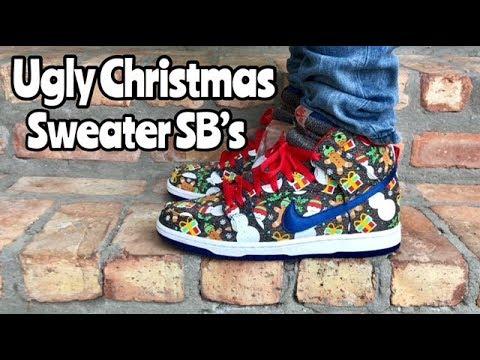 "huge discount 82250 32724 Nike SB ""Ugly Christmas Sweater"" on feet"