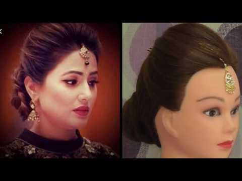 EASY WEDDING HAIRSTYLE INSPIRED BY HINA KHAN \\ WEDDING HAIRSTYE FOR GIRLS FOR THIN HAIR thumbnail