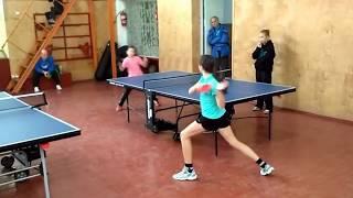 Антонюк Настя - игра за выход в финал турнира в г. Олешки по настольному теннису.