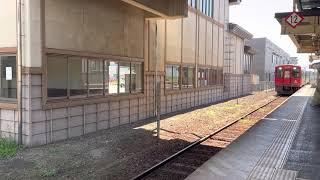 会津鉄道AT600型・AT700型快速AIZUマウントエクスプレス喜多方行西若松駅入線シーン