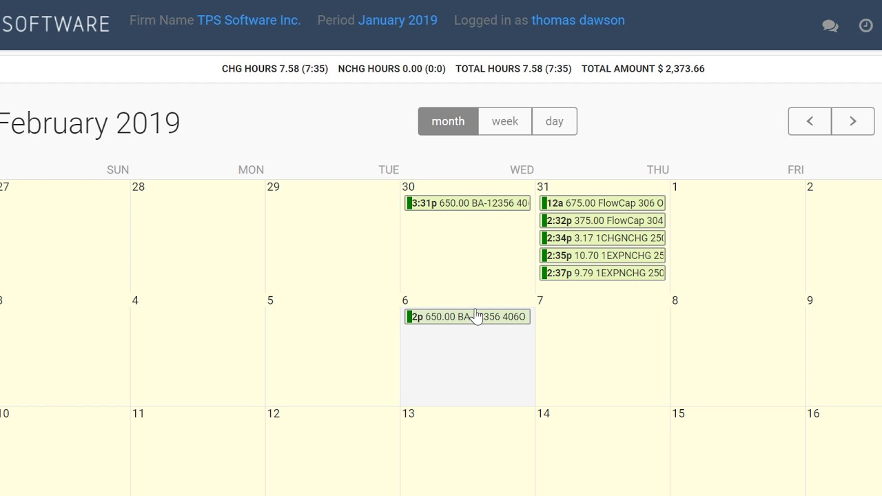 Tps Calendar.Time Entry Calendar Month Week And Day View Tps Cloud Axis