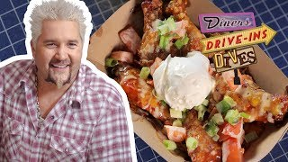 Smoked Chicken Wing NACHOS! (on #DDD with Guy Fieri) | Food Network