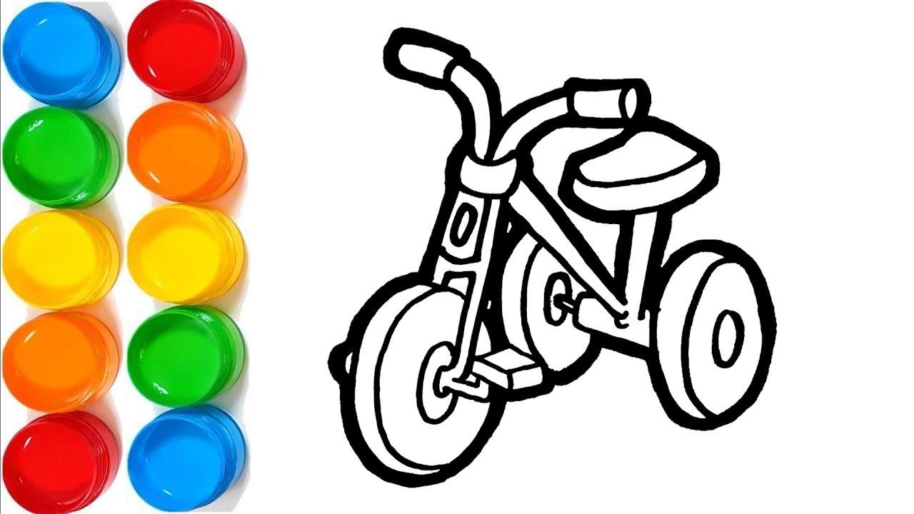 Sepeda Roda Tiga Warna Warni Belajar Menggambar Dan Mewarnai Untuk Anak